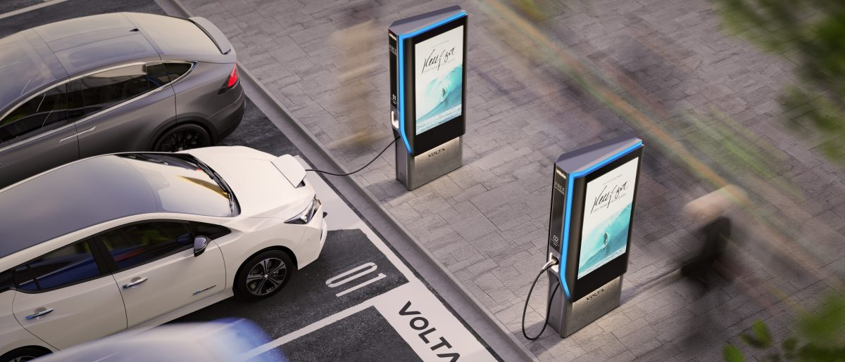 Visualisation of in-use Volta Charging next generation charger in parking lot
