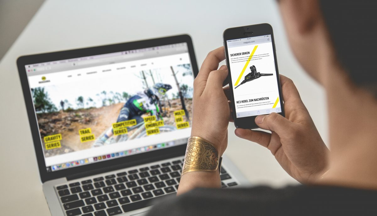 Relaunched Magura brand website on laptop and mobile