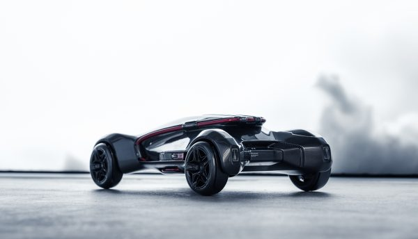 Rear three quarter view of future mobility speculative project model